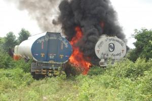 oil refinery burning 1