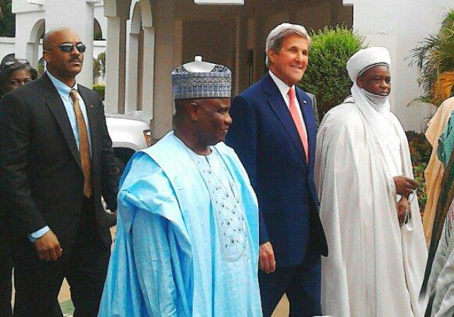 Sokoto State Governor, Aminu Tambuwal, US Secretary of State, John Kerry, the Sultan of Sokoto, Sa'ad Abubakar III