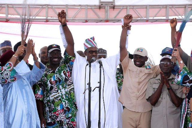 President Buhari was at the APC Mega Rally at the Samuel Ogbemudia Stadium in Benin City