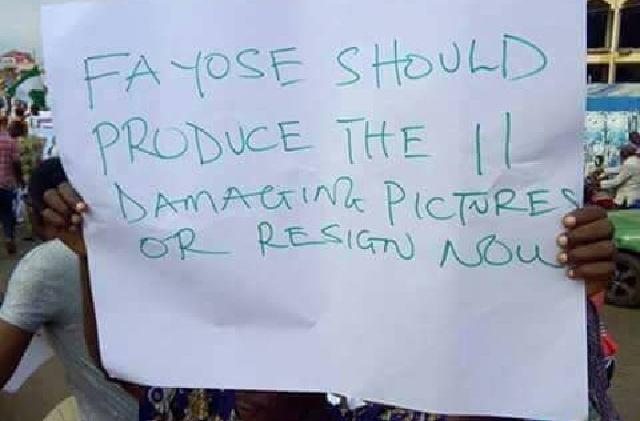 Ekiti protesters demand Fayose's resignation over false Buhari commentss