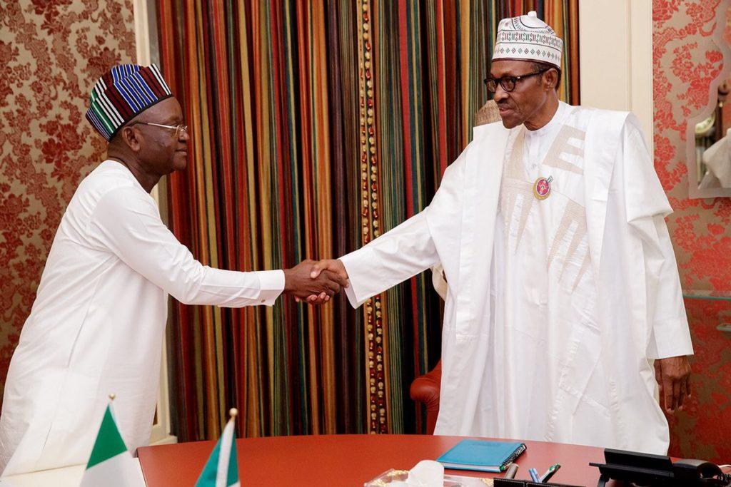 President Muhammadu Buhari and Gabriel Ortom, Benue State Governor