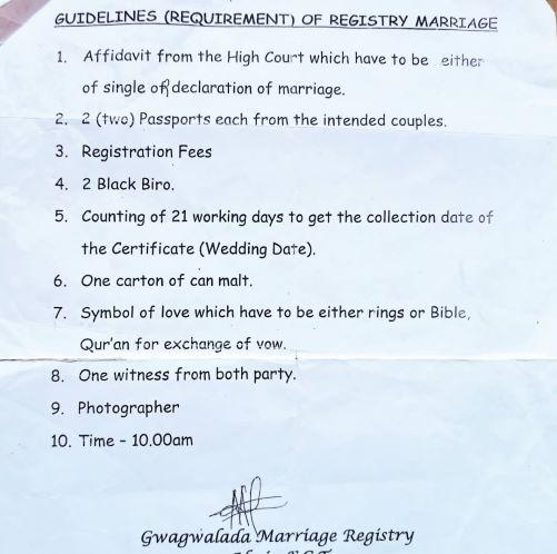 Gwagwalada Marriage Registry requirements.