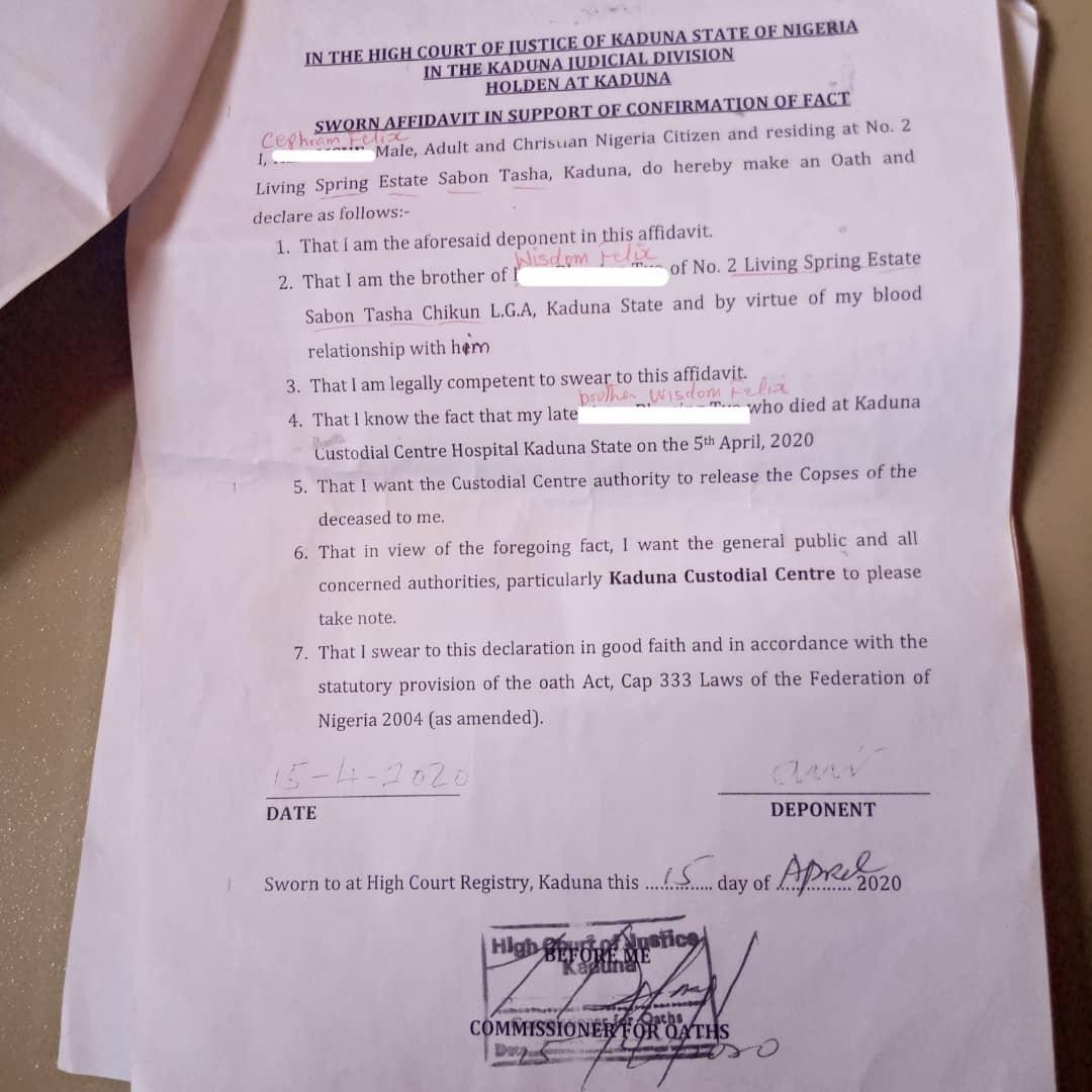 Sample affidavit NCS gave the family