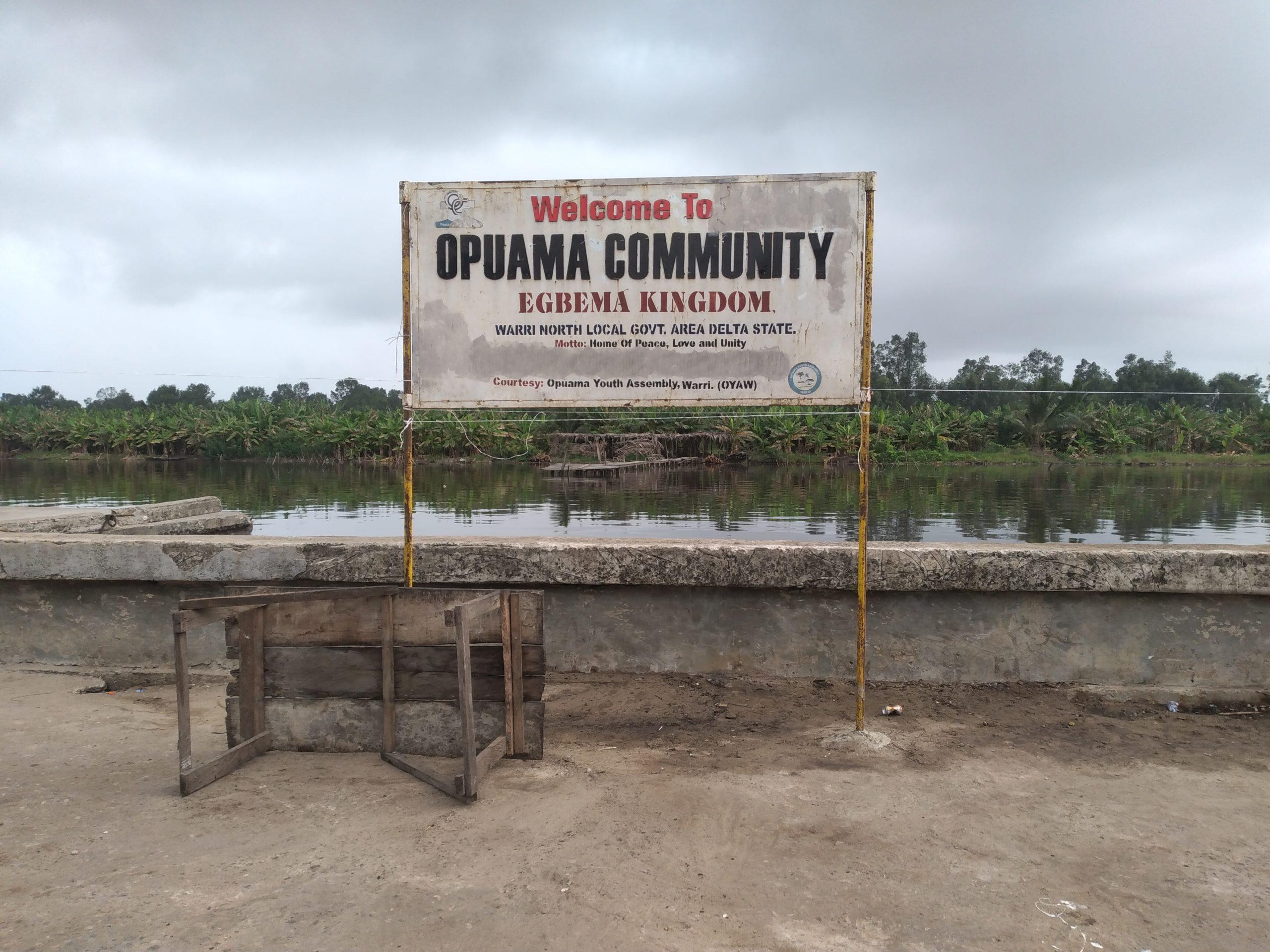 A signboard in Opuama