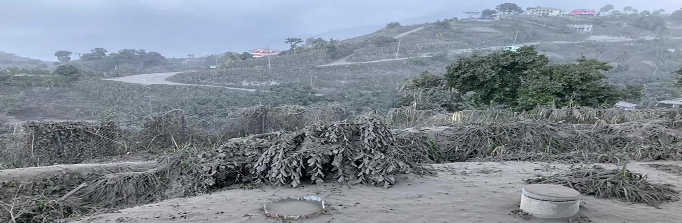 Ash coats a hillside on St. Vincent