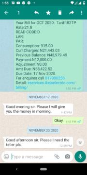 Ikeja Disco bill for Ilamose, Oke-Afa, Lagos, November 2020