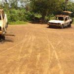 Burnt vehicles at Onicha Police station, Ebonyi