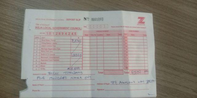 Zenith Bank's deposit Slip given to the reporter at Ikeja LG by Mr Kazeem