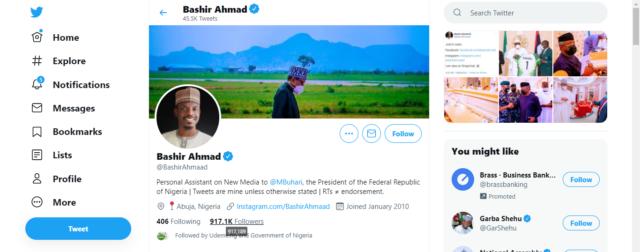 Bashir's Twitter account interface on June 21