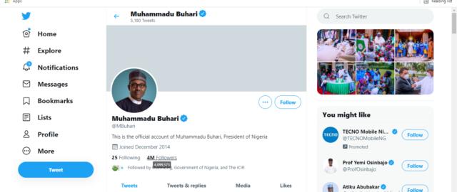 Buhari's Twitter account interface on June 21