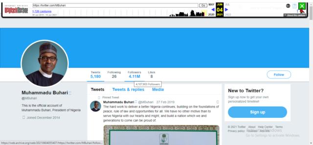 Buhari's Snapshot on June 4/ Wayback Machine