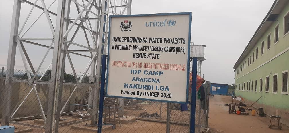 Signboard showing Abagena IDP camp