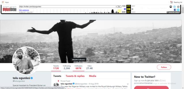 Ogunlesi's Snapshot on April 9/ Wayback Machine