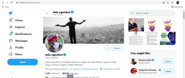 Ogunlesi's Twitter account interface on June 21